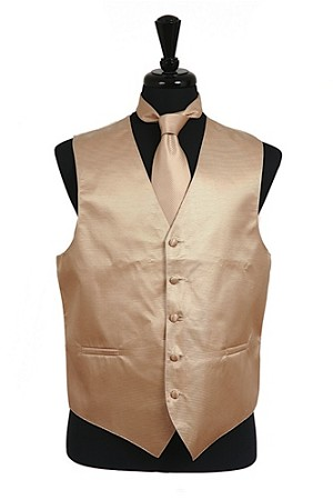 VS2010 Horizontal Rib Pattern Vest Tie Set Ivory