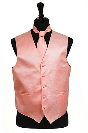 VS2010 Horizontal Rib Pattern Vest Tie Set Peach