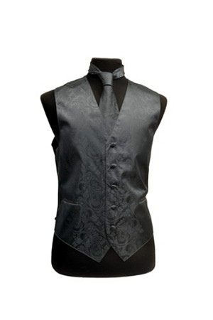 VS278 Paisley tone on tone Vest Tie Set Charcoal