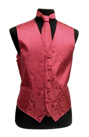 VS278 Paisley tone on tone Vest Tie Set Coral
