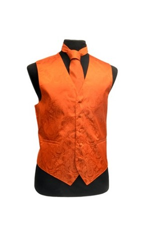 VS278 Paisley tone on tone Vest Tie Set Burnt Orange
