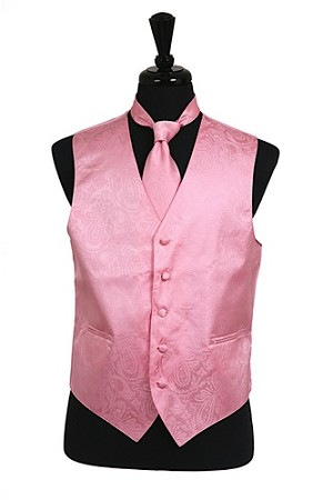 VS278 Paisley tone on tone Vest Tie Set Pink