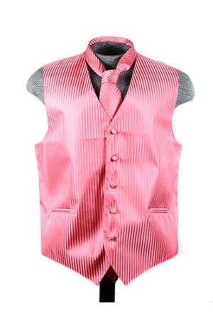 VS625 Vertical Tone on Tone Stripes Vest Tie Set Coral